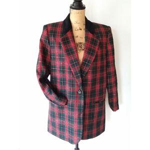 Vintage • red tartan plaid holiday wool blazer